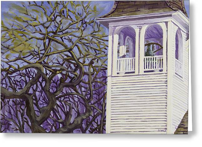 Downeast Greeting Cards - Country Church and Old Tree in Rural Maine Greeting Card by Keith Webber Jr