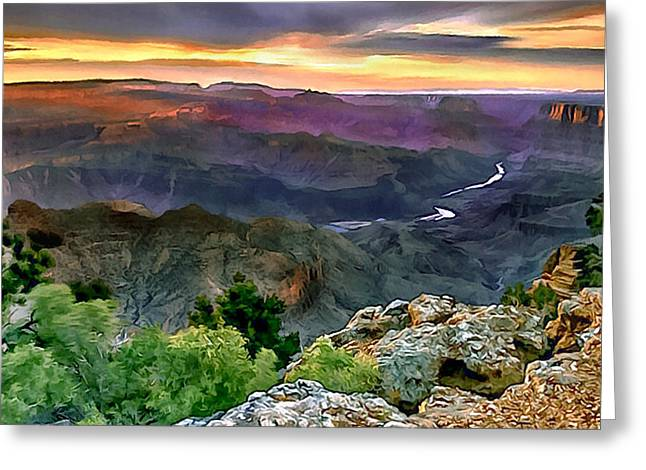 Desertview Greeting Cards - Painting of Desert View Grand Canyon Greeting Card by  Bob and Nadine Johnston