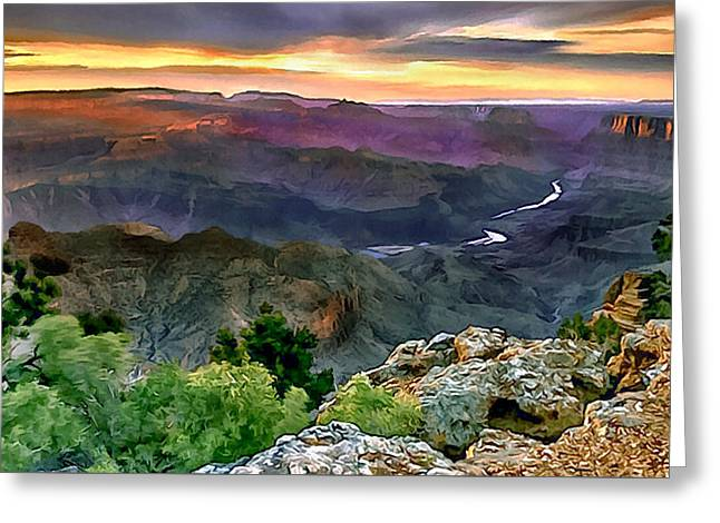 Yaki Greeting Cards - Painting of Desert View Grand Canyon Greeting Card by  Dr Bob Johnston