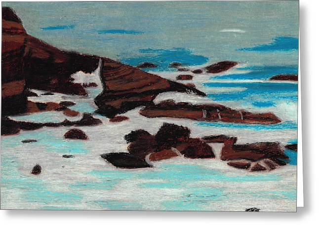 Ocean Shore Pastels Greeting Cards - Turbulent Shores Greeting Card by Jessica Foster