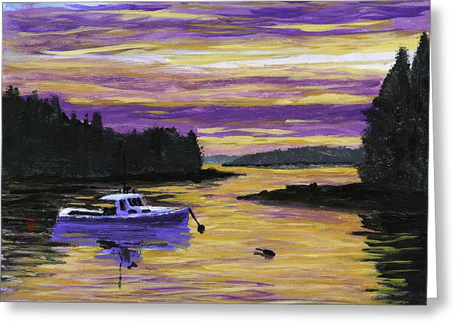 Coastal Maine Paintings Greeting Cards - Lobster Boat In Port Clyde Maine at Sunset Greeting Card by Keith Webber Jr