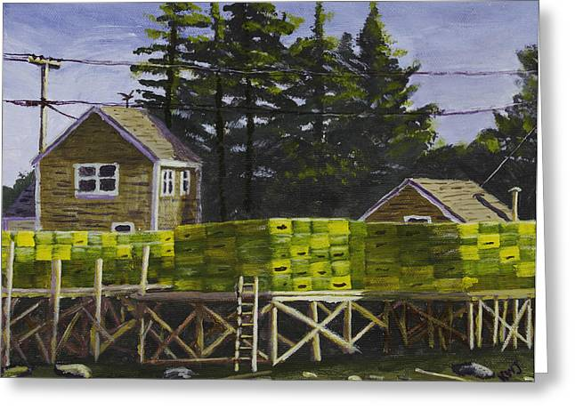Maine Seascapes Greeting Cards - Lobster Traps in Port Clyde Maine Greeting Card by Keith Webber Jr