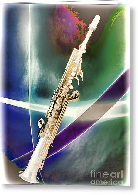 Soprano Greeting Cards - Painting of Music Soprano Saxophone in Color 3340.02 Greeting Card by M K  Miller