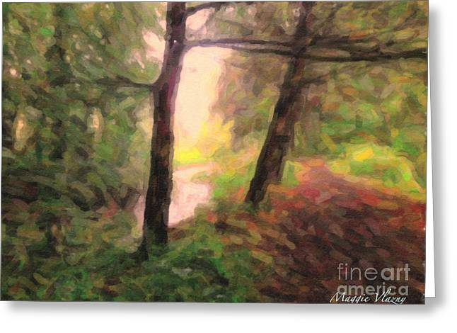 Henry Mixed Media Greeting Cards - Landscape Painting of Path into Woods Greeting Card by Maggie Vlazny