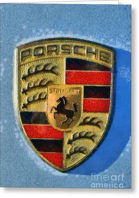 People Greeting Cards - Painting of Porsche badge Greeting Card by George Atsametakis