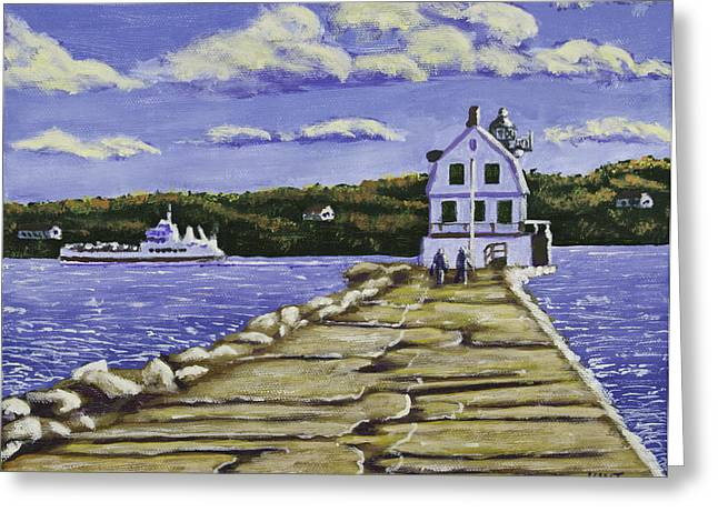 Maine Landscape Paintings Greeting Cards - Rockland Breakwater Lighthouse in Maine Greeting Card by Keith Webber Jr