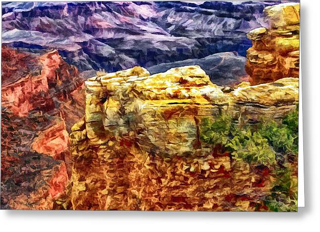 Desertview Greeting Cards - Painting of the Grand Canyon Greeting Card by  Bob and Nadine Johnston