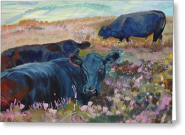 Three Cows Greeting Cards - Painting of three black cows in landscape without sky Greeting Card by Mike Jory