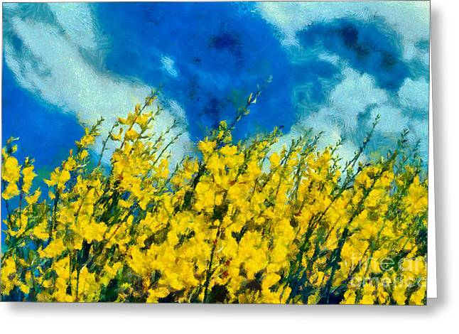 Colorful Greeting Cards - Painting of wild flowers Greeting Card by George Atsametakis