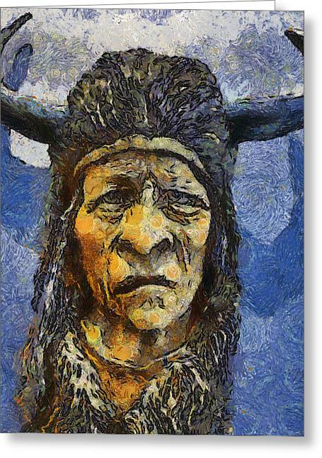 Crawfish Beer Greeting Cards - Painting of WOOD SPIRIT CARVING NATIVE AMERICAN INDIAN Greeting Card by Teara Na