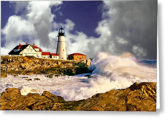Print On Canvas Greeting Cards - Painting Portland Headlight Maine Greeting Card by  Bob and Nadine Johnston