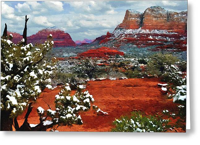 Hematite Greeting Cards - Painting Secret Mountain Wilderness Sedona Arizona Greeting Card by  Bob and Nadine Johnston