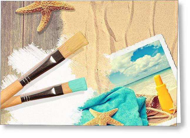 Artist Photographs Greeting Cards - Painting Summer Postcard Greeting Card by Amanda And Christopher Elwell