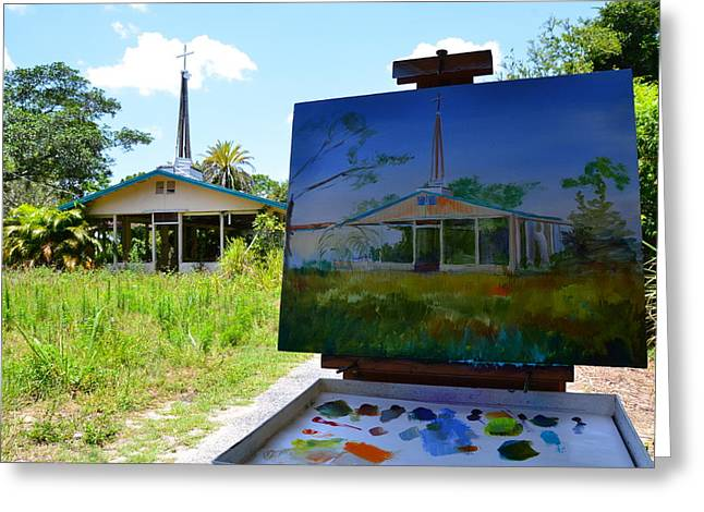 At Work Greeting Cards - Painting the Chapel of Healing Greeting Card by AnnaJo Vahle