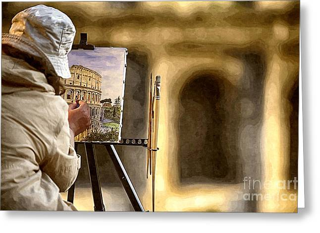 Painting The Colosseum Greeting Card by Stefano Senise