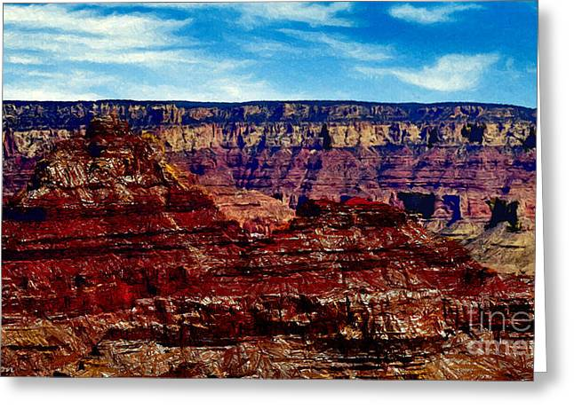 Desertview Greeting Cards - Painting The Grand Canyon National Park Greeting Card by  Bob and Nadine Johnston