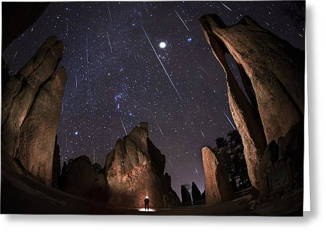 Constellation Greeting Cards - Painting The Needles Under The Geminids Meteor Shower Greeting Card by Mike Berenson