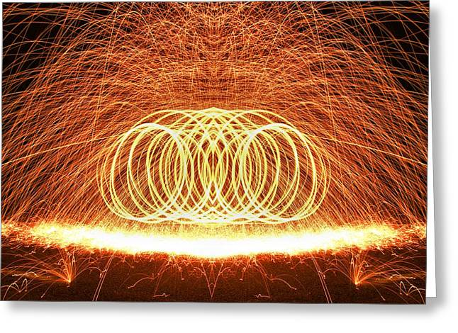 Sparklers Greeting Cards - Painting The Night With Fire Greeting Card by Dan Sproul