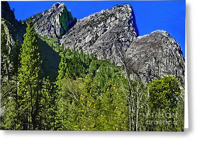 Cathedral Rock Mixed Media Greeting Cards - Painting Three Brothers Peaks Yosemite NP Greeting Card by  Bob and Nadine Johnston