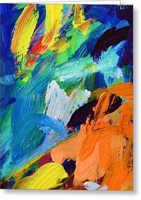 Abstract Expressionist Greeting Cards - And God Said Let There Be Light - Genesis1 3 - Blue Abstract Expressionist Painting Greeting Card by Philip Jones