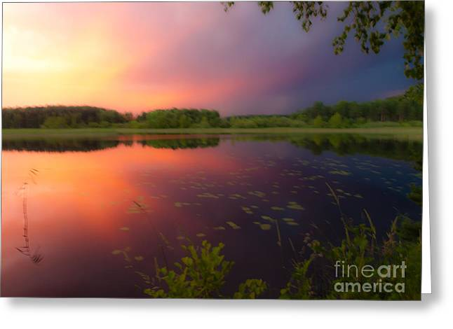 Paint Photograph Greeting Cards - Painting with Stormy Light Greeting Card by Ismo Raisanen