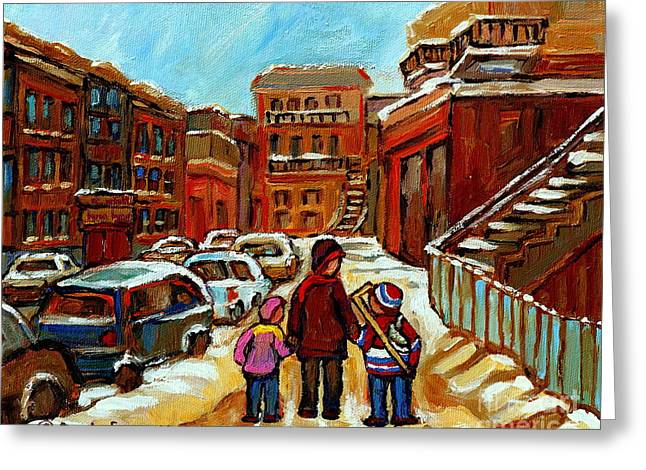 Baron Byng High School Greeting Cards - Paintings Of Baron Byng High School St Urbain A Winter Walk Down Memory Lane Montreal Art Carole  Greeting Card by Carole Spandau
