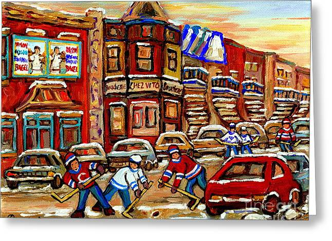 Take-out Greeting Cards - Paintings Of Fairmount Bagel Street Hockey Game Near Chez Vito Montreal Art Winter City Cspandau Greeting Card by Carole Spandau