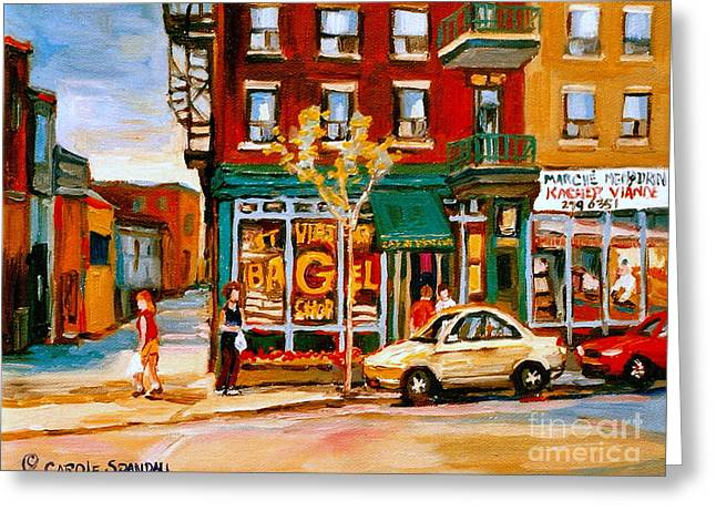Plateau Montreal Paintings Greeting Cards - Paintings Of  Famous Montreal Places St. Viateur Bagel City Scene Greeting Card by Carole Spandau