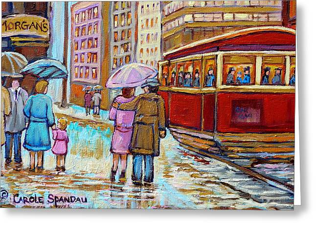 Ste Catherine Greeting Cards - Paintings Of Fifties Montreal-downtown Streetcar-vintage Montreal Scene Greeting Card by Carole Spandau