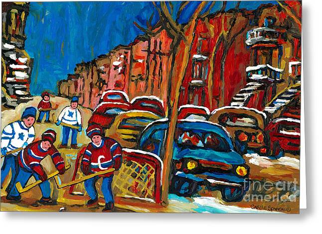 Montreal Hockey Scenes Greeting Cards - Paintings Of Montreal Hockey City Scenes Greeting Card by Carole Spandau