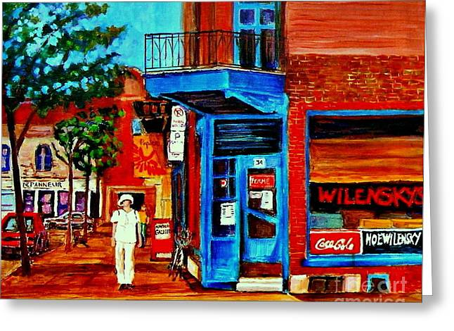 Montreal Diners Greeting Cards - Paintings Of Montreal Memories Moe Wilenskys Famous Corner Deli  Montreal Spring City Scene Greeting Card by Carole Spandau