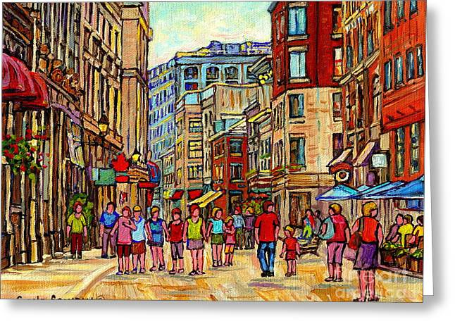 Street Scenes Greeting Cards - Paintings Of Rue St Paul Vieux Montreal Strolling By Paris Style Cafes Old Port City Scene Cspandau  Greeting Card by Carole Spandau