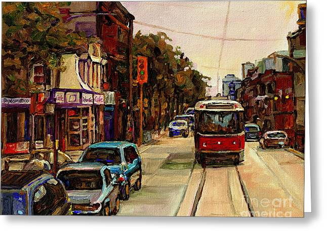 Park Scene Paintings Greeting Cards - Paintings Of Toronto Italian Resto Take The Tram To College And Clinton Carole  Greeting Card by Carole Spandau