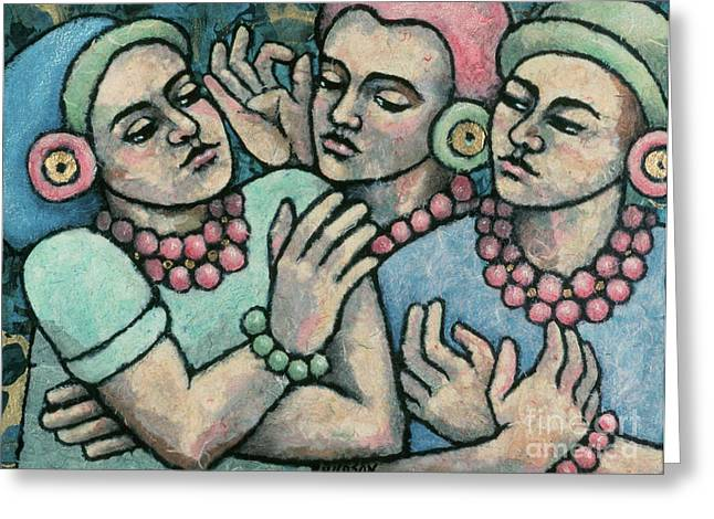 Chatty Greeting Cards - paintings of women - Girls from Borobudur Greeting Card by Sharon Hudson