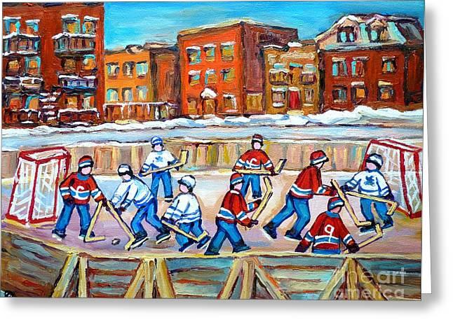 Hockey Net Greeting Cards - Paintings  Verdun Rink Hockey Montreal Memories Canadiens And Maple Leaf Hockey Game Carole Spandau Greeting Card by Carole Spandau