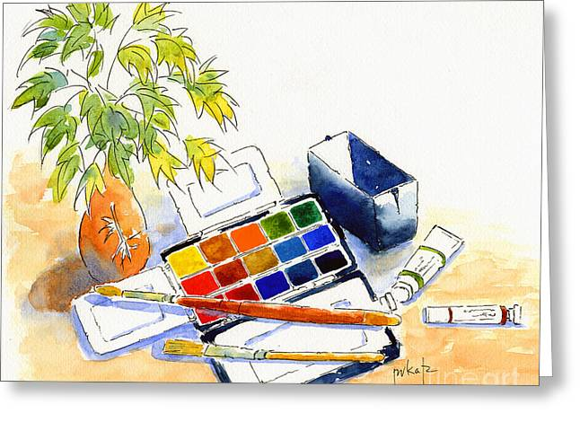 Newton Paintings Greeting Cards - Paints And Brushes Greeting Card by Pat Katz