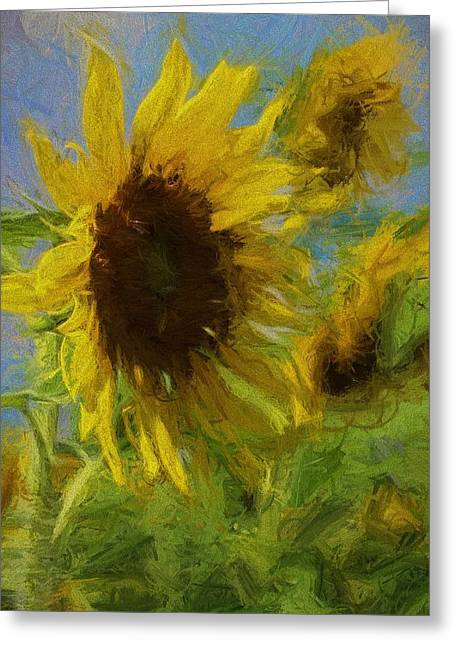 Photographers Conyers Greeting Cards - Painty Sunflower Greeting Card by Cathy Lindsey