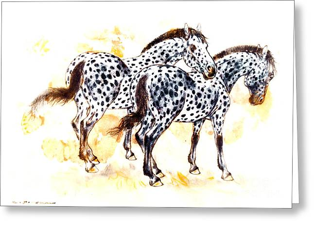 Pair Pastels Greeting Cards - Pair of appaloosa horses with leopard complex Greeting Card by Kurt Tessmann