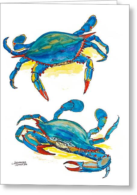 Blue Claws Greeting Cards - Blue Crab Pair Greeting Card by Alexandra Nicole Newton