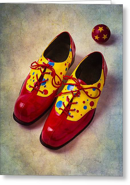 Color Colorful Greeting Cards - Pair Of Clown Shoes Greeting Card by Garry Gay