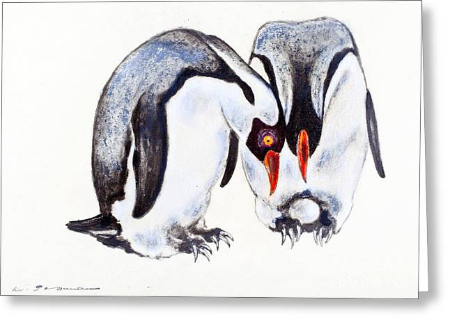Penguins Pastels Greeting Cards - Pair of Emperor Penguins with egg Greeting Card by Kurt Tessmann
