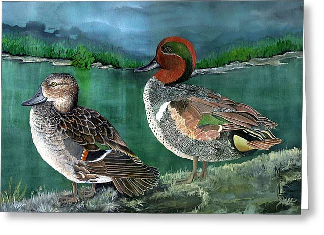Etc. Paintings Greeting Cards - Pair of Green-winged teals Greeting Card by Marsha Friedman