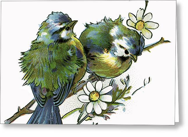 Birds On A Branch Greeting Cards - PAIR of LOVE BIRDS  1898 Greeting Card by Daniel Hagerman