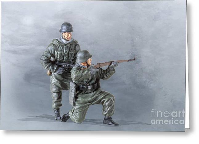 Soldier Of Fortune Greeting Cards - Pair of Panzer Grenadiers Greeting Card by Randy Steele