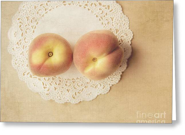 Pair Of Peaches Greeting Card by Jillian Audrey Photography