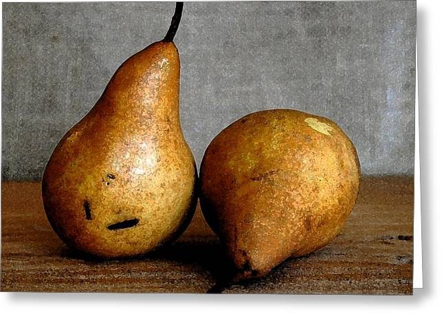Pear Art Drawings Greeting Cards - Pair of Pears Greeting Card by Cole Black