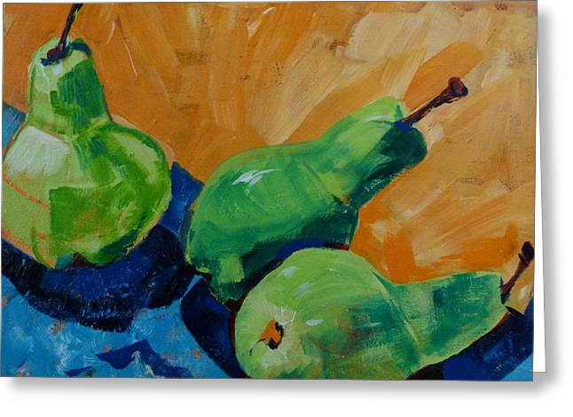 Pair Of Pears Plus One Greeting Card by Suzanne Willis