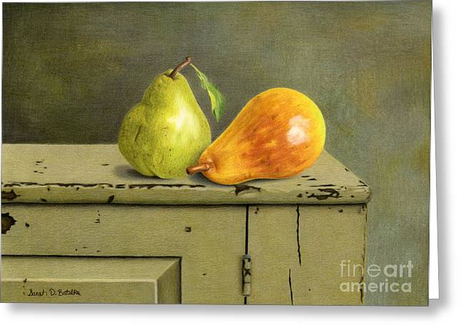 Pear Art Drawings Greeting Cards - Pair Of Pears Greeting Card by Sarah Batalka