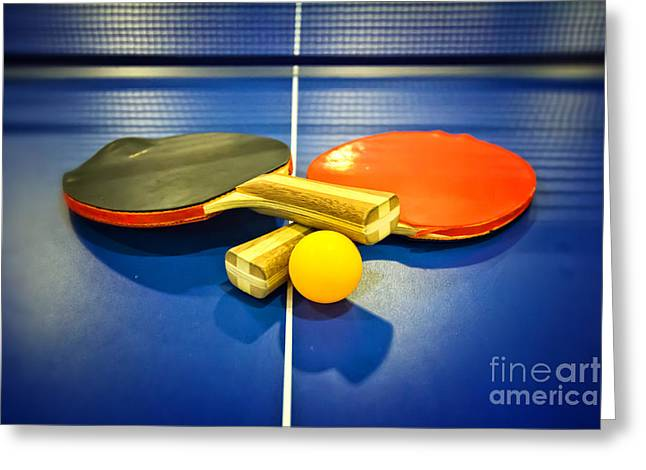 Table Tennis Racket Greeting Cards - Pair of Ping-pong Bats Table Tennis Paddles Rackets on Blue Greeting Card by Beverly Claire Kaiya