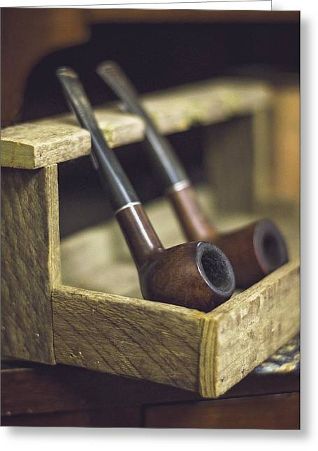 Smoker Greeting Cards - Pair of Pipes Greeting Card by Heather Applegate